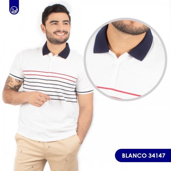 Polo premium Pacer Blanco Rayas