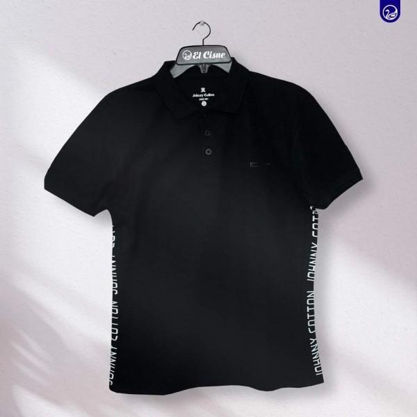 Polo Premium Jonny Cotton  Negro/Letras
