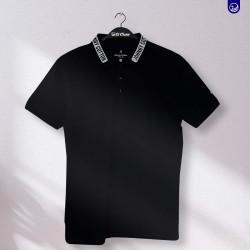Polo Premium Johnny Cotton Negro Con Letras En  El cuello