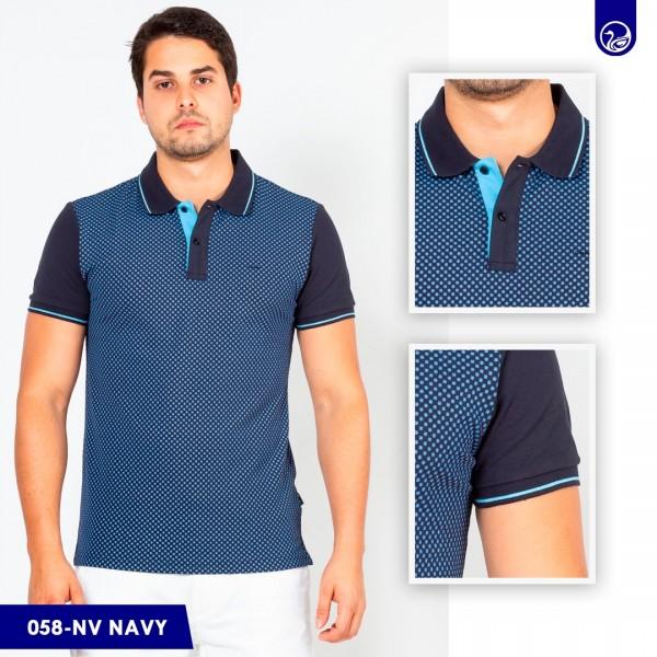 Polo Premium Carven Navy/Cuadros Celeste